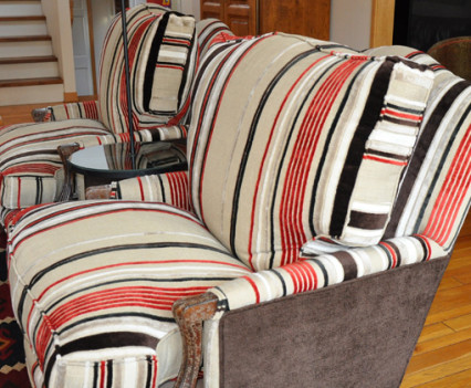 reupholstered chairs with red brown and black striped fabric