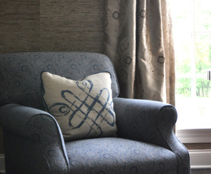detail of chair by window in Darien Connecticut home