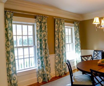double window draperies in Fairfield house