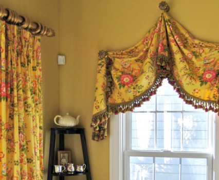 golden valence and drapery in corner