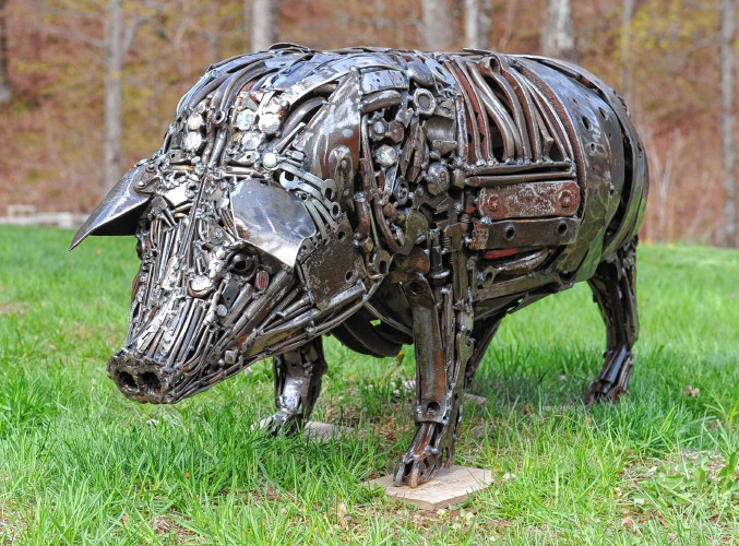 Detail of metal pig sculpture by Trisha Moody-Bourbeau.